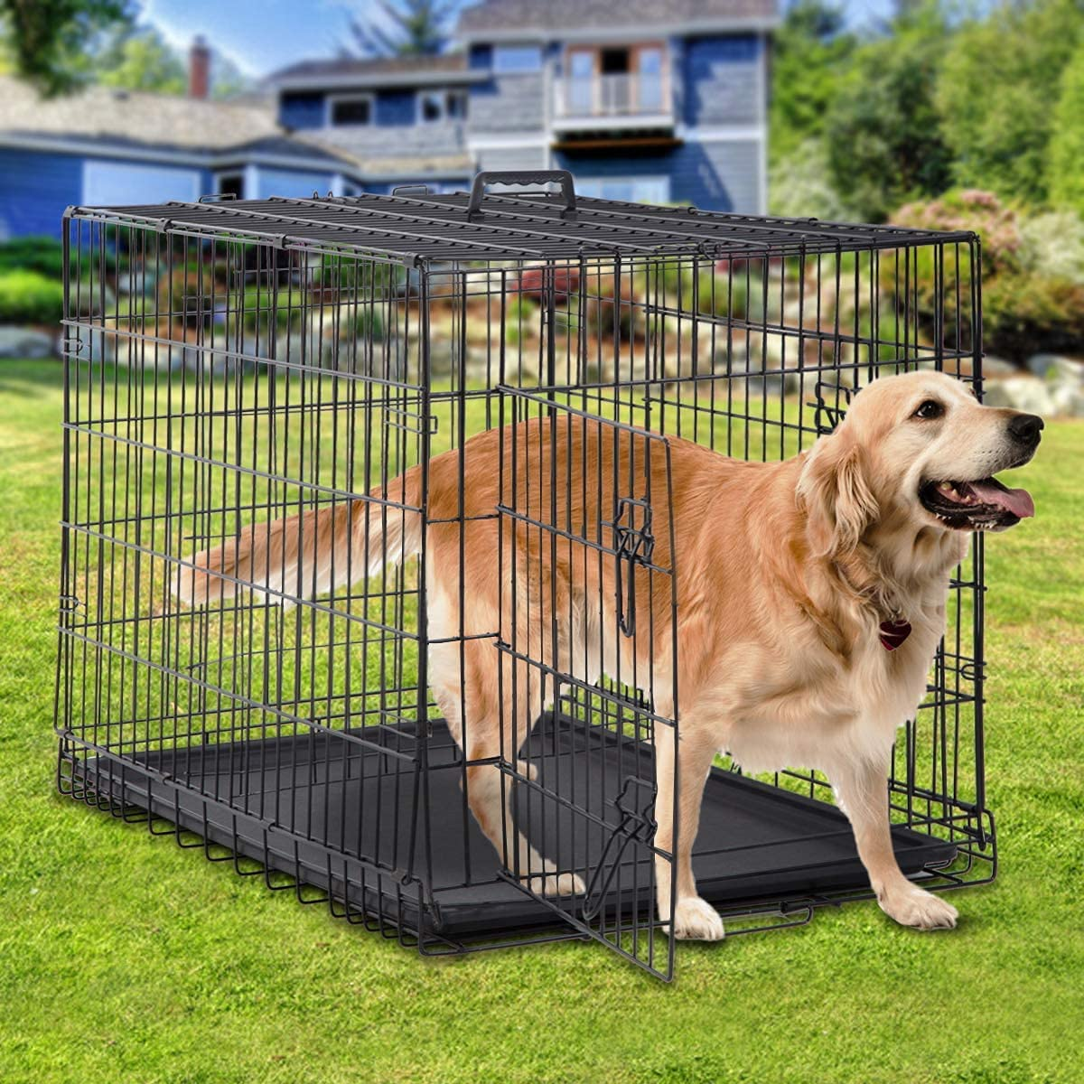 Tyyps Large Dog Crate Kennel 48 Inch Metal Wire Dog Crate